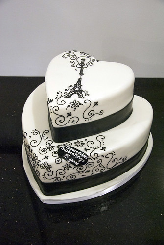black white heart cake