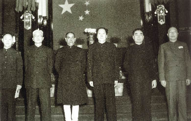 In May 1950, the first Indian Ambassador to China K. M. Panikkar (third left) presented his credential to Chairman Mao Zedong; India is the first non-socialist country to establish official diplomatic
