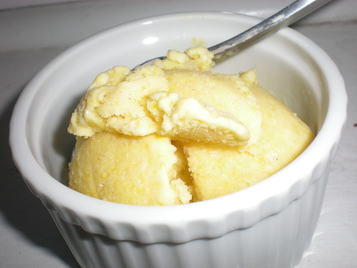 sweet corn ice cream, in a ramekin