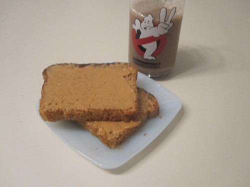 Toasts with peanut butter, chocolate milk