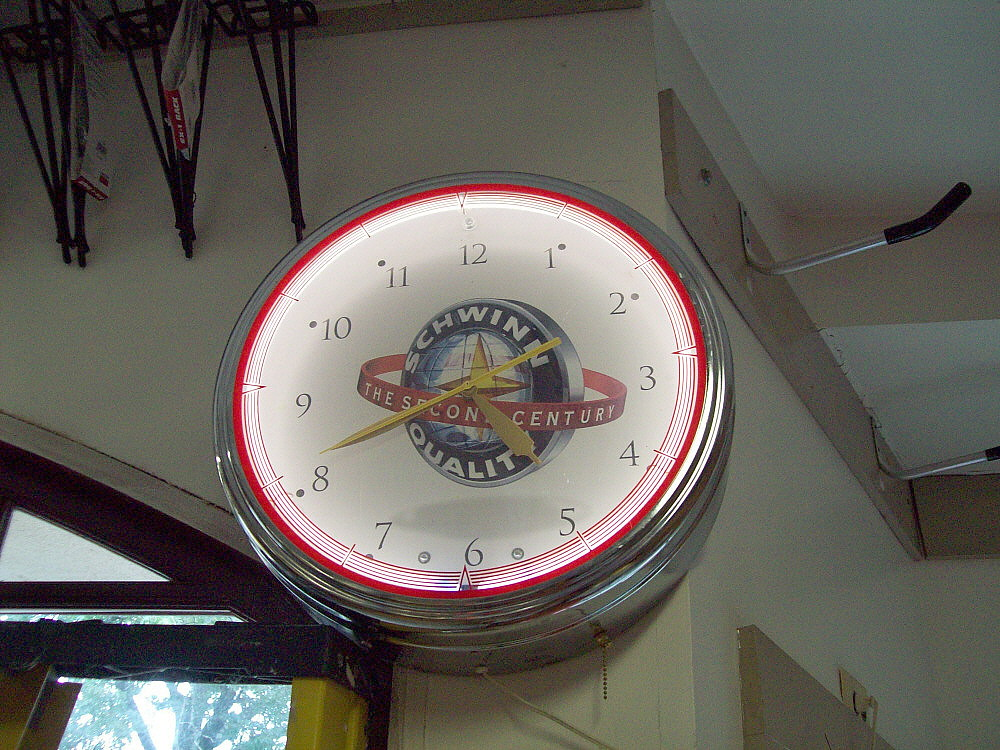 Schwinn Clock Inside Workmans Bike Shop