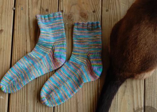 Slip Stitch Heel Socks & Kitty