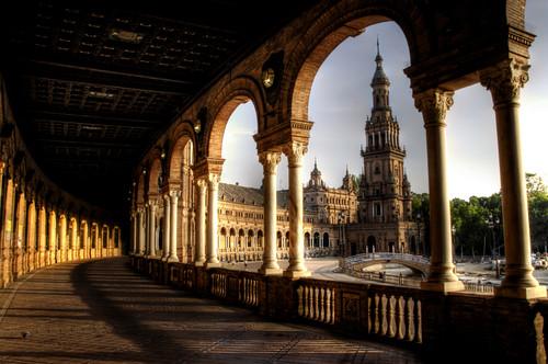 Seville. Archs and tower. Plaza de españa. Arcos y torre. Sevilla