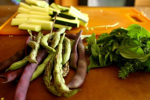 garden beans, cukes and basil