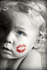Day 136 of 365 (.:AnnetteB:.) Tags: toddler sweet redlipstick kissable kisslips blueeyesselectivecoloring365daysproject