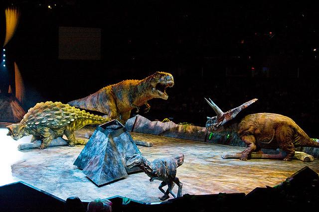 Tyrannosaurus Rex protecting her baby for the Torosaurus and Ankylosaurus