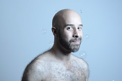 FYFF Bubbles (miserablespice) Tags: shirtless hairy man men lens fur 50mm nikon flash bubbles guys bubble nikkor softbox straightoutofthecamera sooc strobist gadgetinfinity nikond90 ctbgel fyff