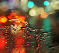 starry starry night (HschenliebeSchweinchen) Tags: light shadow blur car rain closeup night mirror focus bokeh raindrop