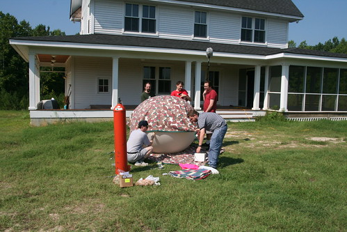 The team filling the balloon and preparing for launch.