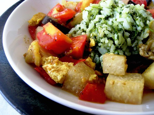 Coconut Curried Tofu, Eggplant, and Kohlrabi with Green ...