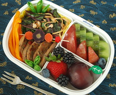 Sausage, Pepper and Chard Bento (sherimiya ) Tags: school mushroom pepper kid healthy strawberry sheri plum sausage bento kiwi blackberries blueberries capsicum obento swisschard enoki purplecarrot sherimiya pinkcarrot