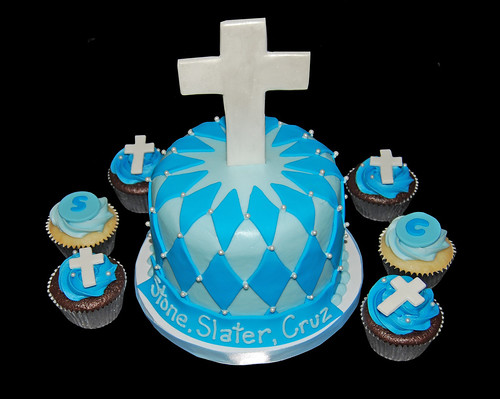 Blue Baptism Cupcake Tower