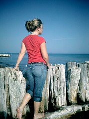 Whitefish Point (dmitriyk) Tags: cameraphone blue water girl up rachel michigan greatlakes jeans upperpeninsula upstream vignette lakesuperior android droid whitefishpoint raemarie