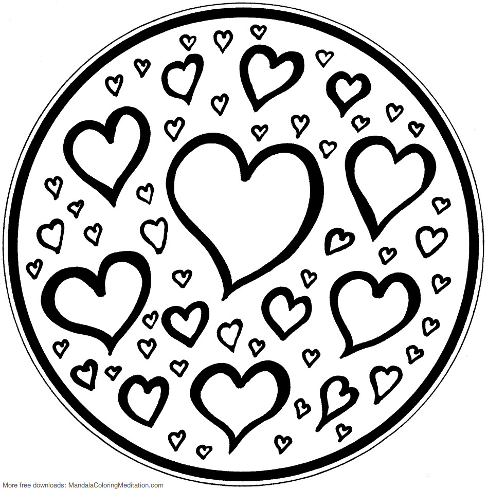 Printable Children Coloring Page Hearts Mandala 2 Pages Tags