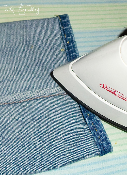 bootcut to skinny jean makeover upcycled ironing hem