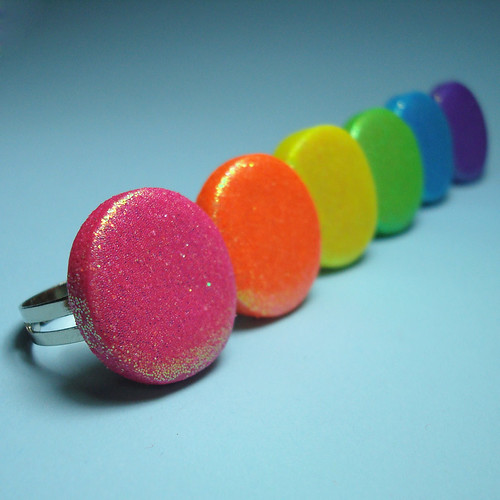 Neon Glitter Cocktail Rings