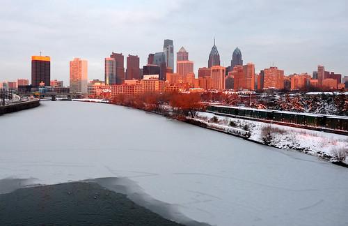 philadelphia winter sunset