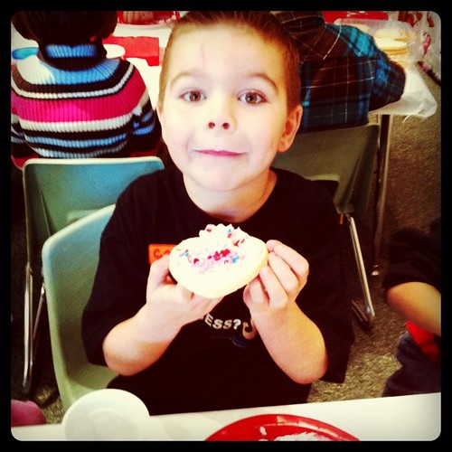 Angry Kid is decorating cookies at the school Valentine's Day party!