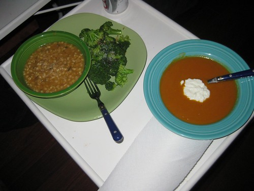 Sweet potato soup, barley risotto