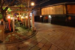 Traditional houses in Gion street (Teruhide Tomori) Tags: street old house history beautiful japan night town kyoto traditional fisheye 京都 日本 祇園 nippon gion 花見小路 歴史 町並み earthasia 伝統家屋