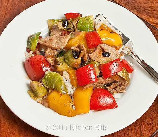 Fork-Ready Stir-Fry of Pork, Peppers, Brussels Sprouts, Black Beans, and Rice