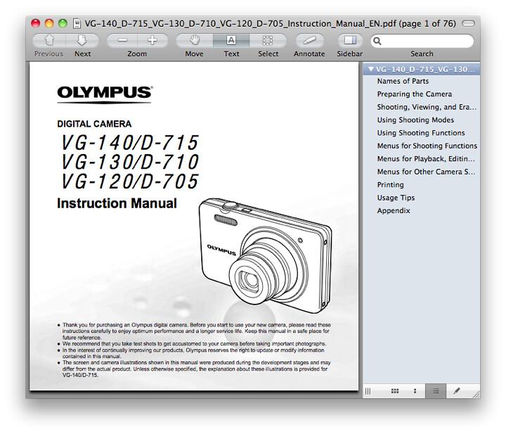 Olympus VG-120 Manual