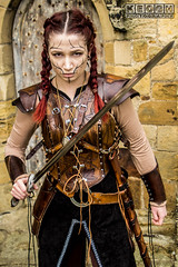 IMG_9476-Edit.jpg (Neil Keogh Photography) Tags: silver whitbygothweekend steampunk sword shoulderguards viking brown steampunkdress armguards red warrior goth armour blouse whitby top female woman whitbygothicweekendapril2017 facepaint black gothic trousers leather waistcoat white