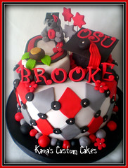 OSU Graduation Cake (Kara's Custom Cakes) Tags: flowers red dog diamonds grey ohiostate buckeye tassle fondant blocko graduationcap osugraduation blockocake
