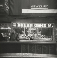 Dream Gems (futurowoman) Tags: nyc newyorkcity blackandwhite newyork diamonds holga manhattan strangers jewelry midtown peopleidontknow ilforddelta3200 diamonddistrict 47thst holgacfn 47thstreet