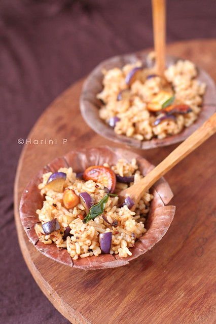 Vangibhath ~ Rice with roasted and spiced eggplants