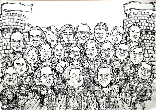 Group knight caricatures for PricewaterhouseCoopers - ink