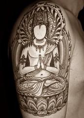 Inner Guru Tattoo (h0n3yb33z) Tags: tattoo buddhism jondix chantelpederson holytrauma innerguru facelessbuddha