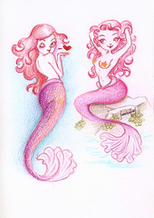 I  Mermaids (Sabrina Eras) Tags: illustration sketchbook draw mermaid coloredpencil sereias sabrinaeras