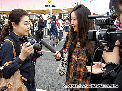 Our Japanese friend getting interviewed after the parade