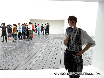 One of the ushers in the Finnish pavilion