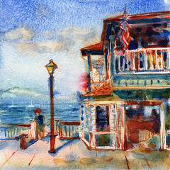 Lahaina, Hawaii (arxigene) Tags: ocean sea art beach ink watercolor hawaii restaurant cityscape drawing diner watercolour yevgeniawatts virtualpaintout visiblytalented