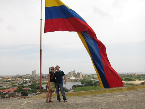 Linda (Germany) and I under the fort's giant Colombian flag.