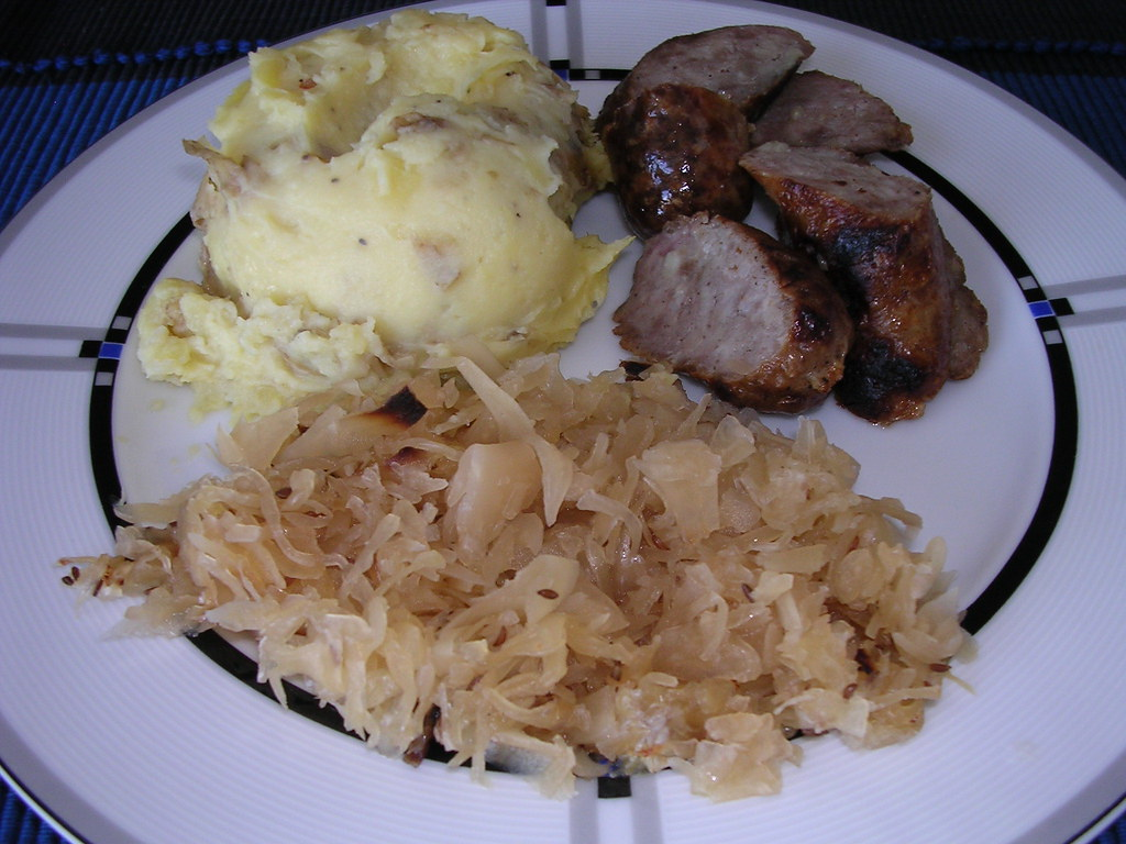 Bratwurst, Sauerkraut & Cheddar Garlic Smashed Potatoes