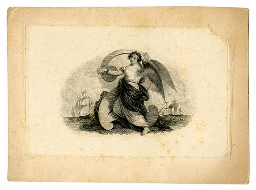 Allegorical winged female figure at centre. Sailing ships in the background. Design printed in black. (19th c)