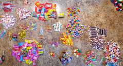 July 4 Parade Candy Separated Piles