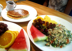 Scrambler at Yolk (deeeelish) Tags: orange tomato watermelon eggs pancake grape spinach