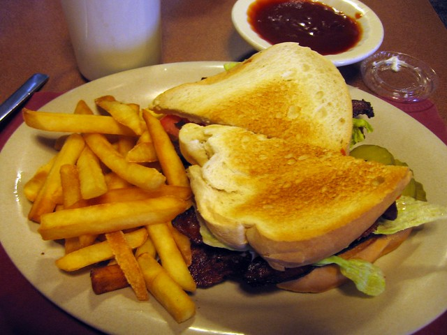 Real hickory-smoked BLT and fries