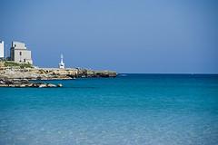 ITA-Otranto-1003-09-v1 (anthonyasael) Tags: blue sea vacation italy lighthouse holiday color green beach water horizontal europe village turquoise ita destination transparent otranto puglia westerneurope adriatic