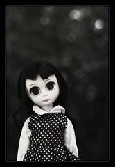 Plain Susie (Voodoolady ) Tags: black vintage hair big eyes doll dress polka dot plastic susie sse susiesadeyes