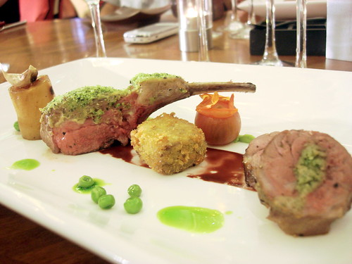 Assiette of Lamb with Potato Fondant, Summer Peas, Mint Oil and Shiraz Reduction-3