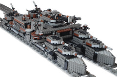 """Fortress""-Class Heavy Double-Gauge Steam Railship Mk. LIV (front) (aillery) Tags: train war ship lego military great machine rail battle steam locomotive machines fortress armored steampunk railship"