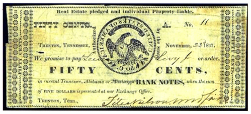 1837 Tennessee Fifty Cent Scrip Note