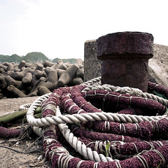 Purple Rope in a Wavebreaker Landscape (jacob schere [in the 03 strategically planning]) Tags: ocean summer white beach nature water rock japan square concrete tokyo seaside dock purple natural jacob cement rocky artificial rope communication chiba summertime ropes heavy lucid thepacificocean schere grii katsuura jacobschere lucidcommunication