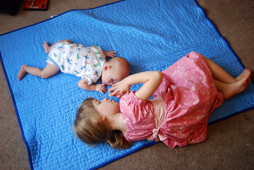 Tummy Time on the New Quilt