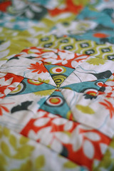Whirly Wheels Quilt- finished! (Bright Side) Tags: brown quilt sewing moda fabric quilting patchwork arcadia jellyroll